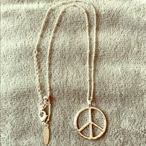 Aeropostale peace sign necklace. ball silver chain